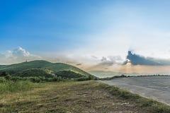 Het punt van de zonsondergangmening in Nern Chang Suek Viewpoint, Pilok, Kanchanab Stock Afbeeldingen