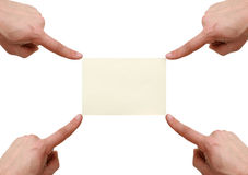Het punt van handen aan het adreskaartje Royalty-vrije Stock Afbeeldingen