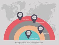Het punt van Infographicscirkels op wereldkaart in lichte kleur als achtergrond stock afbeelding