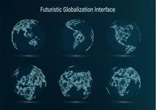 Het Puntreeks van de wereldkaart Kaarten van de beeldspraak van NASA zuiden afrika azië europa Australië en Oceanië Vector illust royalty-vrije illustratie