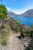 Het puntspoor van wandelingshefbomen met mening van meerwakatipu, queenstown, Nieuw Zeeland 67 stock foto