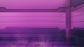 Het purpere binnenland van Proton met leeg stadium Moderne Toekomstige achtergrond Het concept van technologie van technologie sc vector illustratie