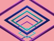 Het purpere blauwgroene metaal van de het achtergrond kadergroep van de bezinnings geometrische vorm lege roze levitatie 3d terug vector illustratie