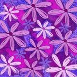 Het purpere Funky Bloemenpatroon verlaagt zich Stock Fotografie