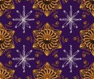 Het purpere Gouden Patroon van de Nacht van de Ster Stock Afbeeldingen