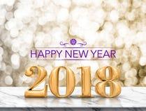 Het purpere kleuren Gelukkige nieuwe jaar 2018 gouden glanzende 3d teruggeven Stock Afbeeldingen