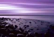Het purpere Strand van de Kiezelsteen Stock Afbeeldingen