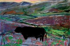 Het quasi Abstracte Schilderen van het Landschap met Koe stock afbeelding