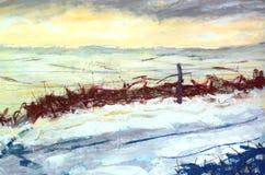 Het quasi Abstracte Schilderen van het Landschap met Sneeuw Royalty-vrije Stock Foto's