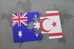 het raadsel met de nationale vlag van Australië en noordelijk Cyprus op een wereld brengen achtergrond in kaart Stock Afbeeldingen