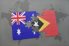 het raadsel met de nationale vlag van Australië en Oost-Timor op een wereld brengen achtergrond in kaart Stock Afbeeldingen