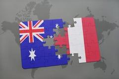 het raadsel met de nationale vlag van Australië en Peru op een wereld brengen achtergrond in kaart Royalty-vrije Stock Afbeeldingen