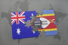 het raadsel met de nationale vlag van Australië en Swasiland op een wereld brengen achtergrond in kaart Stock Afbeeldingen