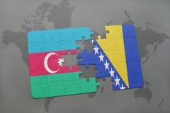 het raadsel met de nationale vlag van azerbaijan en Bosnië-Herzegovina op een wereld brengen achtergrond in kaart Stock Afbeelding