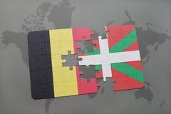 het raadsel met de nationale vlag van het Baskische land van België en op een wereld brengt achtergrond in kaart royalty-vrije illustratie