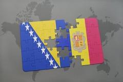 het raadsel met de nationale vlag van Bosnië-Herzegovina en Andorra op een wereld brengen achtergrond in kaart Royalty-vrije Stock Foto