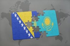 het raadsel met de nationale vlag van Bosnië-Herzegovina en Kazachstan op een wereld brengen achtergrond in kaart Royalty-vrije Stock Foto