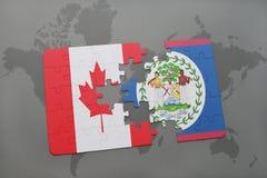 het raadsel met de nationale vlag van Canada en Belize op een wereld brengen achtergrond in kaart Royalty-vrije Stock Foto's