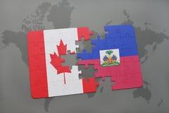 het raadsel met de nationale vlag van Canada en Haïti op een wereld brengen achtergrond in kaart stock illustratie