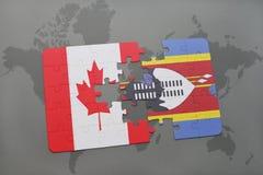 het raadsel met de nationale vlag van Canada en Swasiland op een wereld brengen achtergrond in kaart Stock Afbeeldingen