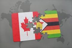 het raadsel met de nationale vlag van Canada en Zimbabwe op een wereld brengen achtergrond in kaart Stock Foto