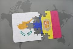 het raadsel met de nationale vlag van Cyprus en Andorra op een wereld brengen achtergrond in kaart Stock Afbeeldingen