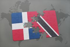 het raadsel met de nationale vlag van Dominicaanse republiek en Trinidad en Tobago op een wereld brengen achtergrond in kaart Stock Afbeelding