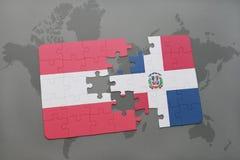 het raadsel met de nationale vlag van de Dominicaanse republiek van Oostenrijk en op een wereld brengt achtergrond in kaart Royalty-vrije Stock Afbeeldingen