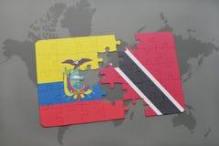 het raadsel met de nationale vlag van Ecuador en Trinidad en Tobago op een wereld brengen achtergrond in kaart Royalty-vrije Stock Foto's