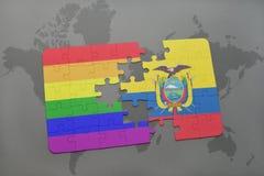 het raadsel met de nationale vlag van Ecuador en vrolijke regenboogvlag op een wereld brengt achtergrond in kaart Stock Afbeeldingen