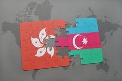 het raadsel met de nationale vlag van Hongkong en azerbaijan op een wereld brengen achtergrond in kaart Stock Illustratie