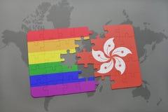 het raadsel met de nationale vlag van Hongkong en vrolijke regenboogvlag op een wereld brengt achtergrond in kaart Stock Afbeeldingen