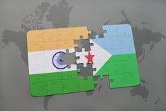 het raadsel met de nationale vlag van India en Djibouti op een wereld brengen achtergrond in kaart Stock Foto's