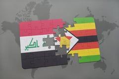 het raadsel met de nationale vlag van Irak en Zimbabwe op een wereld brengen achtergrond in kaart Stock Afbeelding