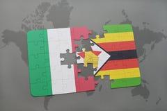 het raadsel met de nationale vlag van Italië en Zimbabwe op een wereld brengen achtergrond in kaart Royalty-vrije Stock Fotografie