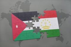 het raadsel met de nationale vlag van Jordanië en tajikistan op een wereld brengen achtergrond in kaart Stock Foto