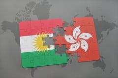 het raadsel met de nationale vlag van Koerdistan en Hongkong op een wereld brengen achtergrond in kaart Stock Afbeelding