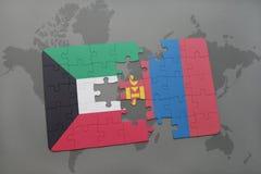 het raadsel met de nationale vlag van Koeweit en Mongolië op een wereld brengen achtergrond in kaart Stock Foto's