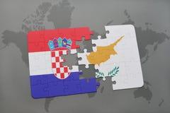 het raadsel met de nationale vlag van Kroatië en Cyprus op een wereld brengen achtergrond in kaart Royalty-vrije Stock Afbeelding