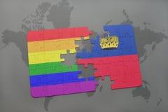 het raadsel met de nationale vlag van Liechtenstein en vrolijke regenboogvlag op een wereld brengt achtergrond in kaart Stock Afbeelding