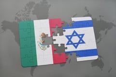 het raadsel met de nationale vlag van Mexico en Israël op een wereld brengen achtergrond in kaart stock illustratie
