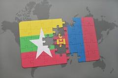 het raadsel met de nationale vlag van myanmar en Mongolië op een wereld brengen achtergrond in kaart Stock Foto