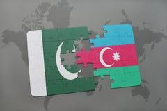 het raadsel met de nationale vlag van Pakistan en azerbaijan op een wereld brengen achtergrond in kaart Vector Illustratie