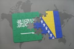 het raadsel met de nationale vlag van Saudi-Arabië en Bosnië-Herzegovina op een wereld brengen achtergrond in kaart Stock Afbeelding
