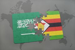 het raadsel met de nationale vlag van Saudi-Arabië en Zimbabwe op een wereld brengen achtergrond in kaart Stock Foto's