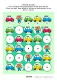 Het raadsel van beeldsudoku met auto's en draagt werktuigkundige Stock Foto