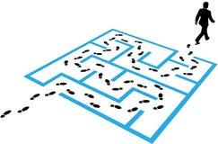 Het raadsel van de de voetafdrukkenoplossing van de bedrijfsmensenweg Stock Fotografie