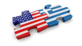 Het raadsel van de V.S. en van Griekenland van vlaggen Royalty-vrije Stock Afbeelding