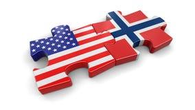 Het raadsel van de V.S. en van Noorwegen van vlaggen Stock Fotografie