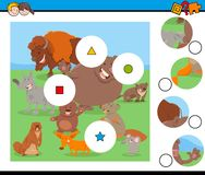 Het raadsel van gelijkestukken met grappige wilde zoogdieren royalty-vrije illustratie